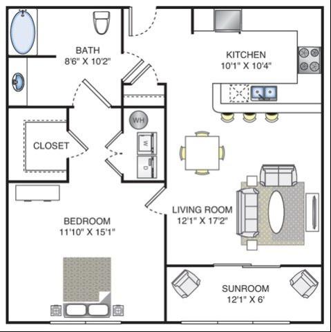 1 Bedroom | 1 Bath | 826 SF