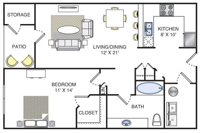 1 Bedroom | 1 Bath | 838 SF