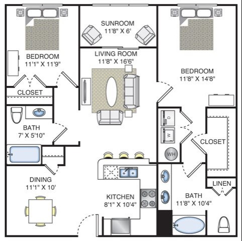 2 Bedroom | 2 Bath | 1170 SF