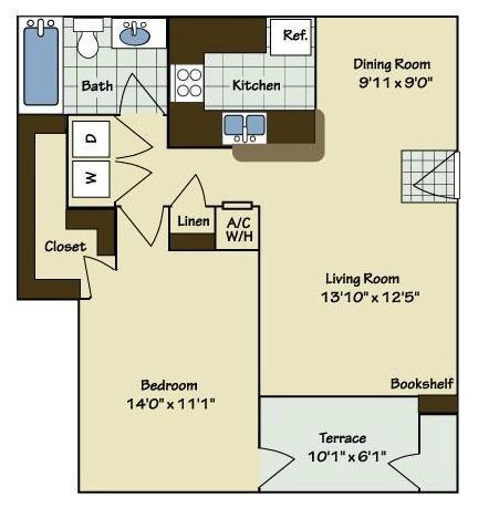 1 Bedroom | 1 Bath | 782 SF