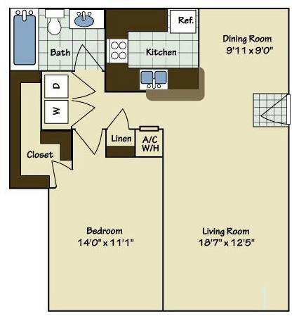 1 Bedroom | 1 Bath | 842 SF