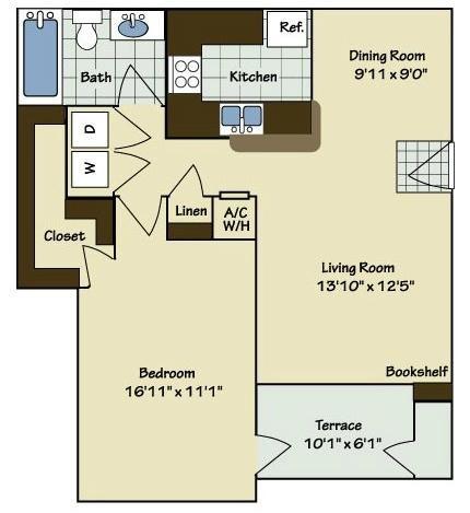 1 Bedroom | 1 Bath | 844 SF
