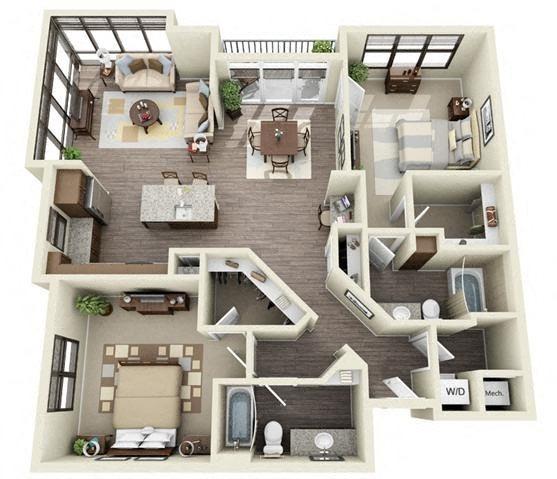 2 Bedroom | 2 Bath | 1298 SF
