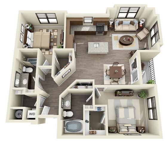 2 Bedroom | 2 Bath | 1167 SF