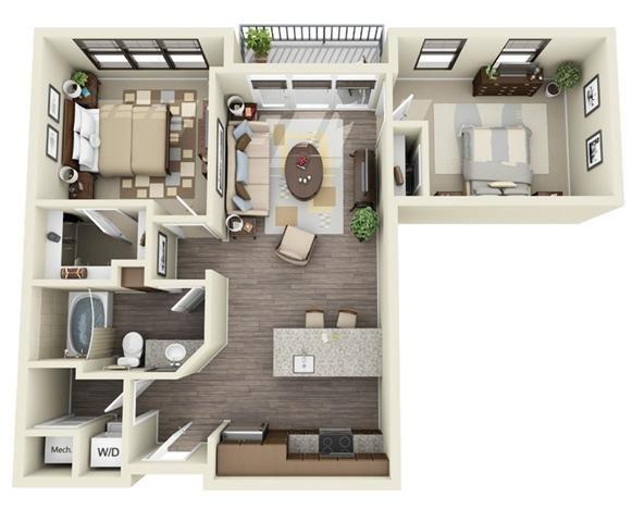 2 Bedroom | 1 Bath | 863 SF