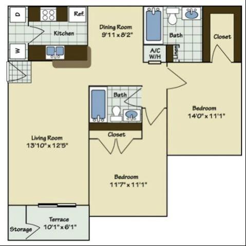 2 Bedroom | 2 Bath | 960 SF