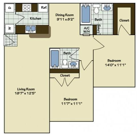 2 Bedroom | 2 Bath | 1015 SF