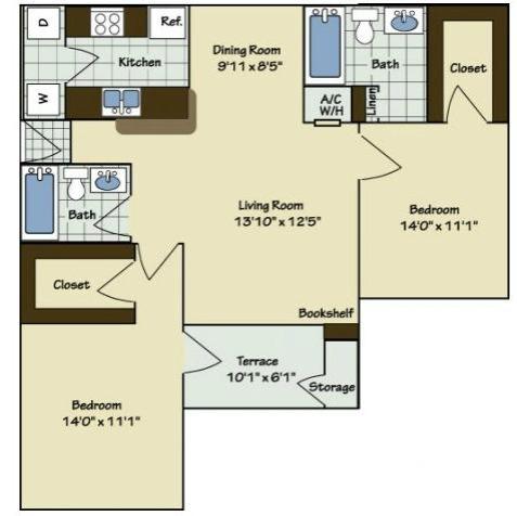 2 Bedroom | 2 Bath | 1020 SF