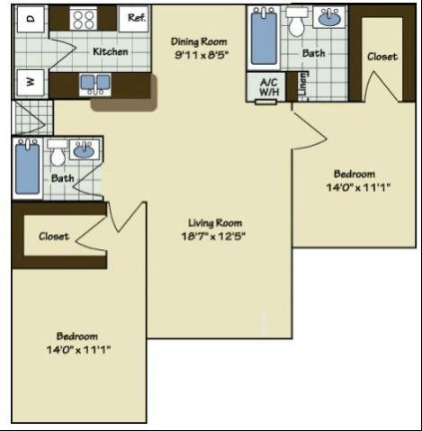 2 Bedroom | 2 Bath | 1051 SF