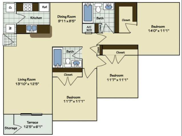 3 Bedroom | 2 Bath | 1168 SF
