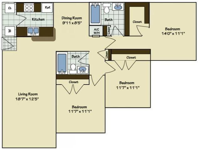 3 Bedroom | 2 Bath | 1228 SF