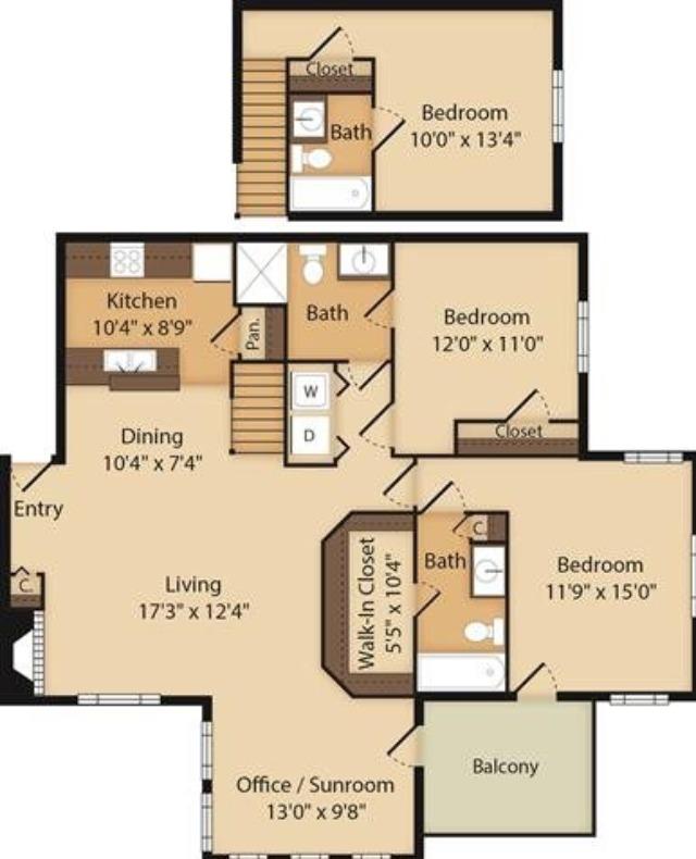 3 Bedroom | 3 Bath | Office/Sunroom | 1505 SF