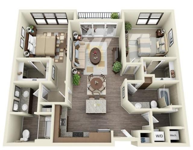 2 Bedroom | 2 Bath | 1044-1060 SF