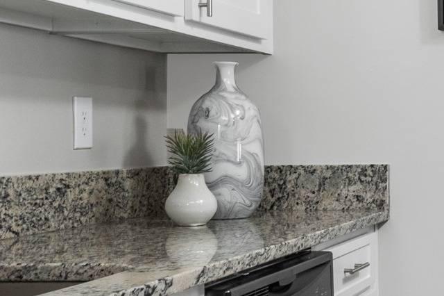Closeup of Granite Countertops in Kitchen
