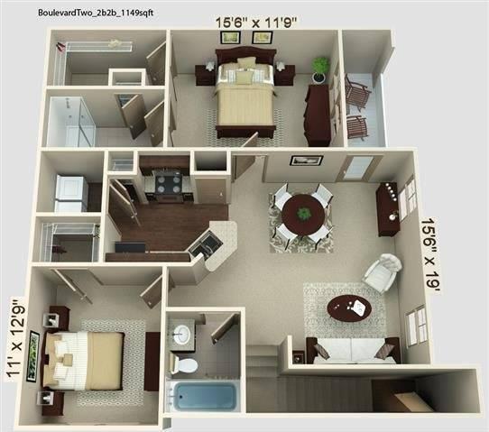 Boulevard 1 Floor Plan Image