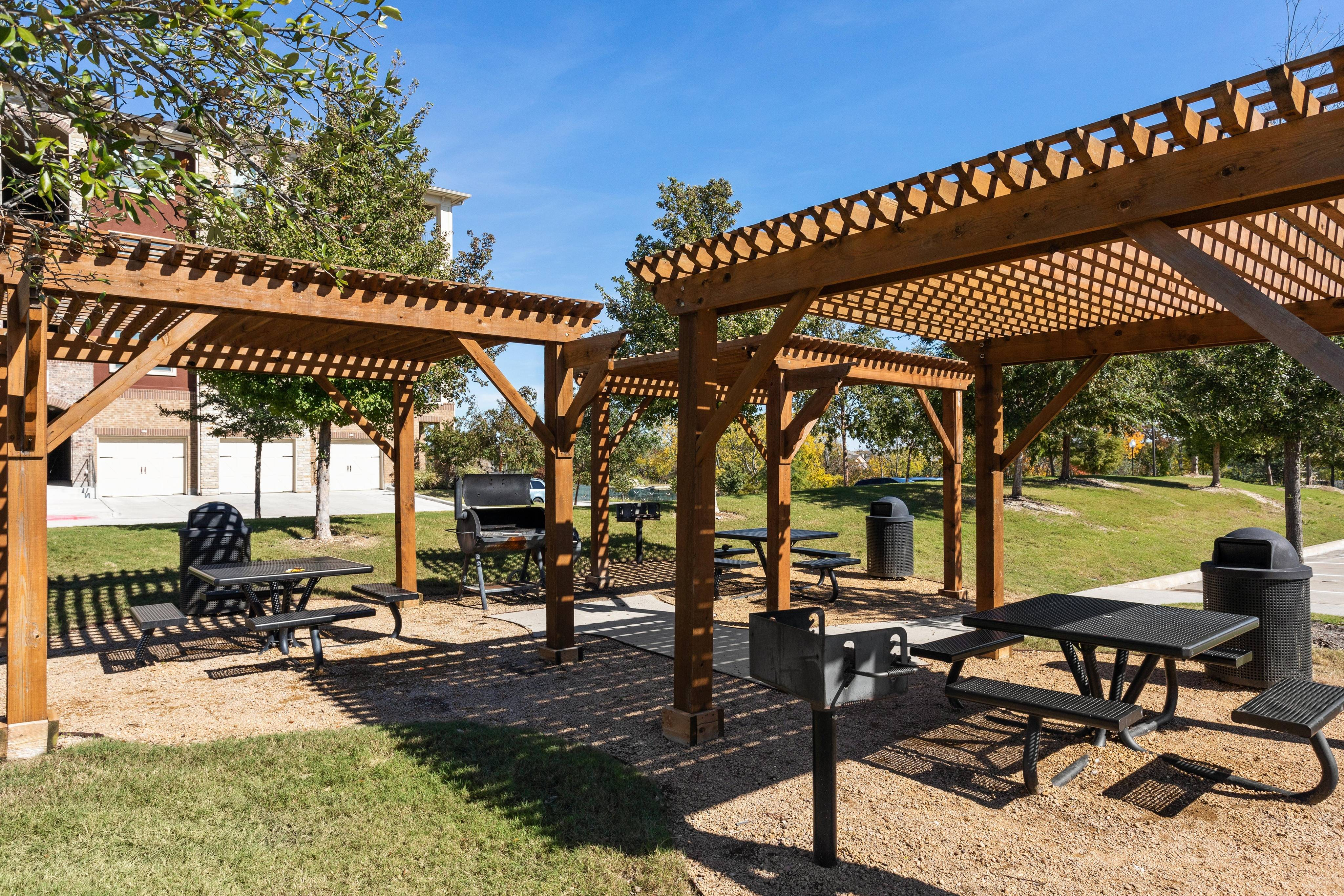 Courtyard with Outdoor Grills and Picnic Tables