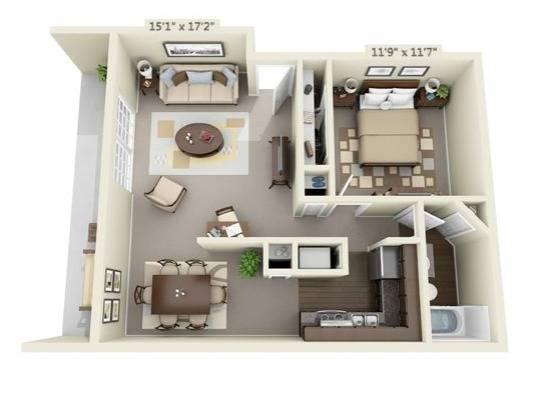 One Bedroom Apartment Floor Plan Image