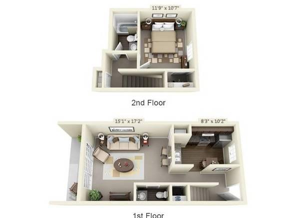 One Bedroom Townhome Floor Plan Image
