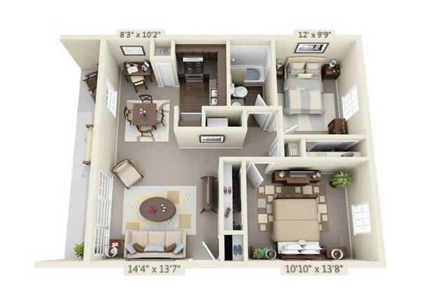 Two Bedroom Apartment Floor Plan Image