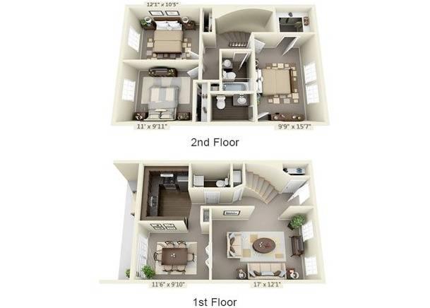Three Bedroom Townhouse Floor Plan Image
