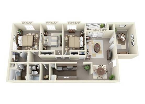 Three Bedroom Apartment Floor Plan Image