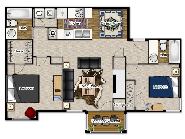 Two bedroom, two bathroom apartments with a fireplace and balcony