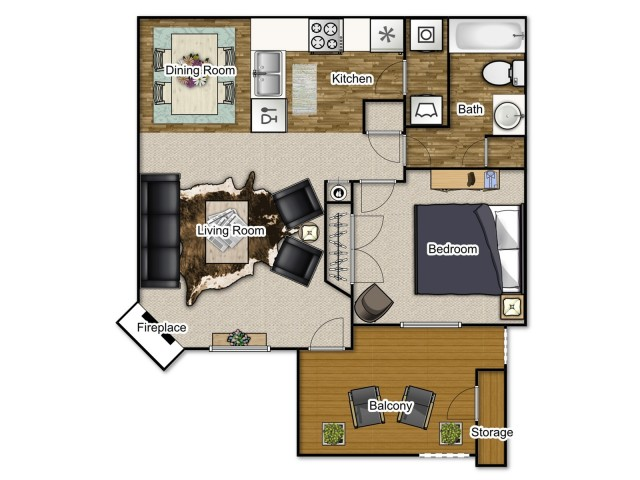 A 700 square foot apartment with one bedroom, one bathroom, fireplace and balcony.