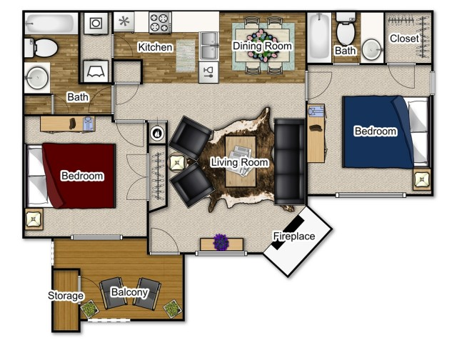 A 950 sqaure foot apartment with 2 bedrooms, 2 bathrooms, a fireplace and balcony.