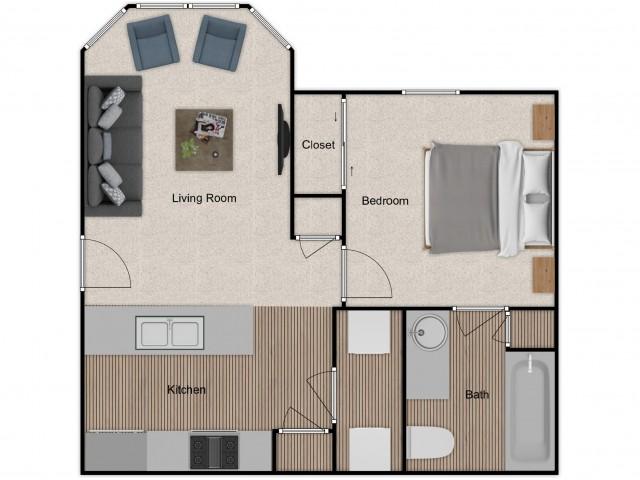 one bedroom, one bath apartment