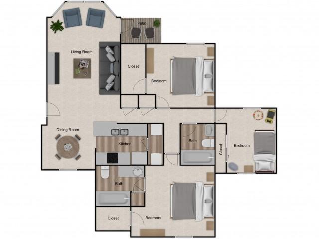 three bedroom, two bath apartment