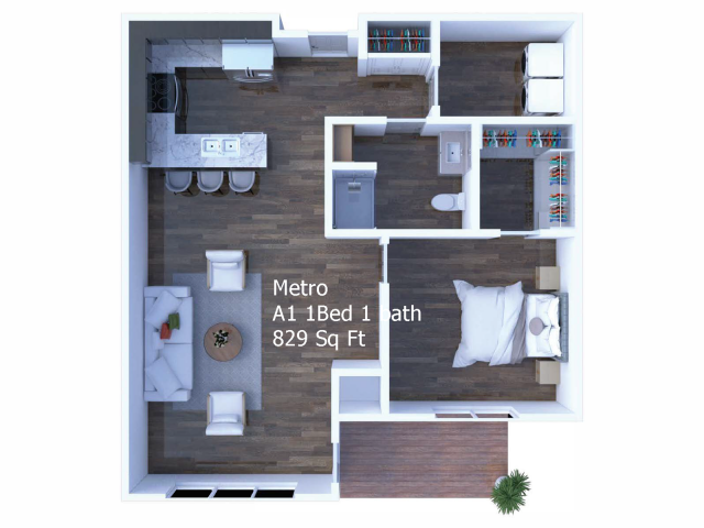 Mills 1 Bedroom with office