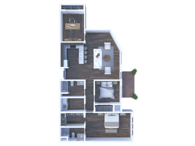 2/2 bath with home office
