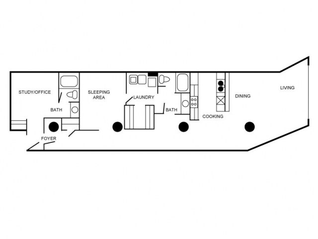Floorplan of a unit featuring two bedrooms and two bathrooms.