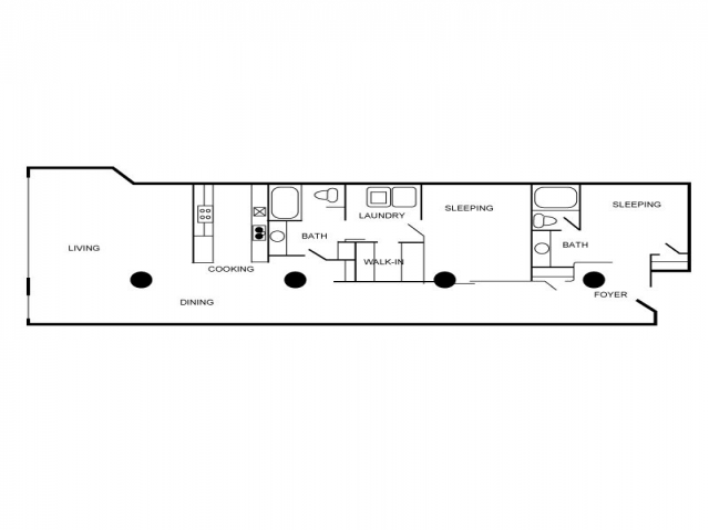 Floor plan of a two bedroom and two bathroom unit with a laundry area, kitchen, living area, and a dining area.