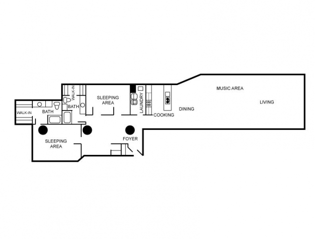Floor plan for an apartment unit that has two bedrooms and 2 bathrooms.