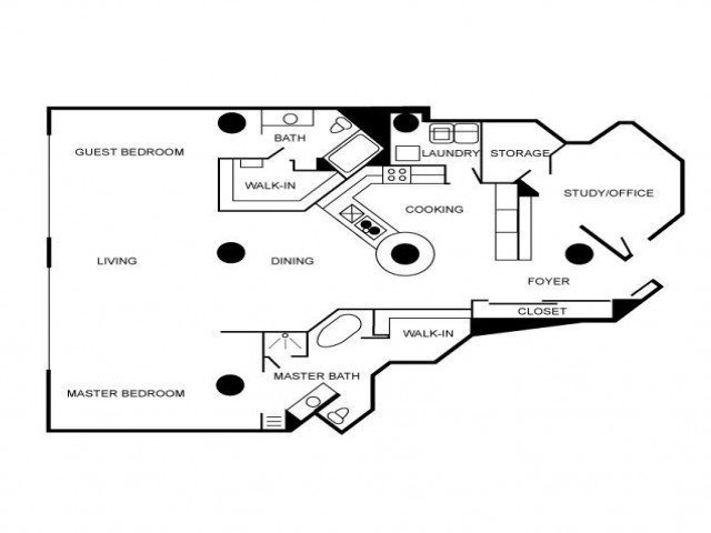 Loft style floorplan featuring two bedrooms and two bathrooms.