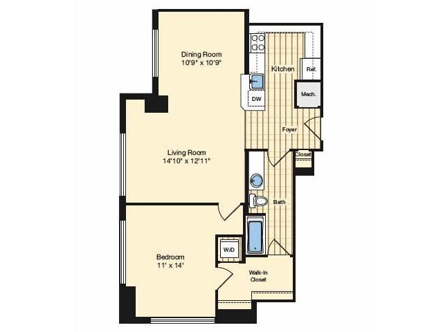 1 Bedroom Floor Plan 1 | Luxury Apartments Alexandria VA | Carlyle Place