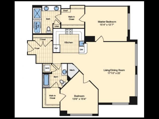 2 Bdrm Floor Plan 1 | Apartments In Alexandria VA | Carlyle Place