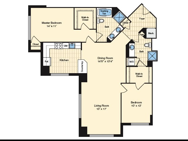 2 Bdrm Floor Plan | Apartments In Alexandria VA 4 | Carlyle Place
