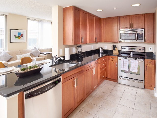 Upscale Kitchens With Custom Cabinetry, Stainless Steel Appliances & Granite Counter Tops   Carlyle Place   Luxury Alexandria Apartments