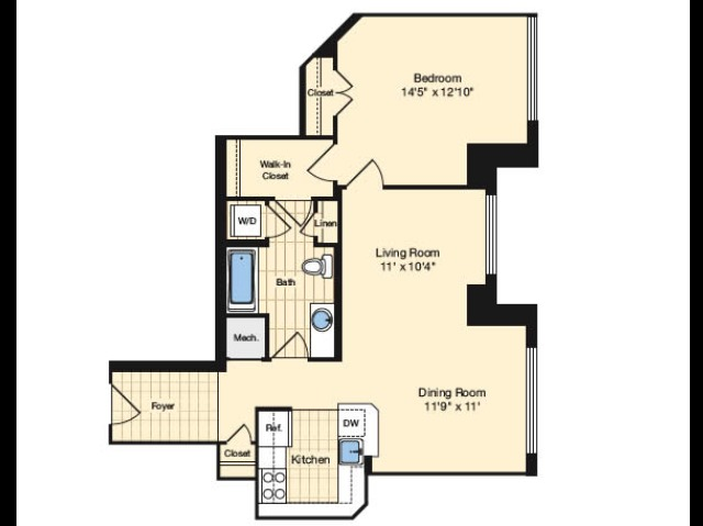 Washington Floor Plan Image | Carlyle Place | Alexandria Apartments