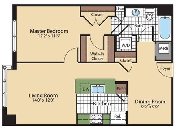 Floor Plan 4   North Bethesda Luxury Apartments   Meridian at Grosvenor Station