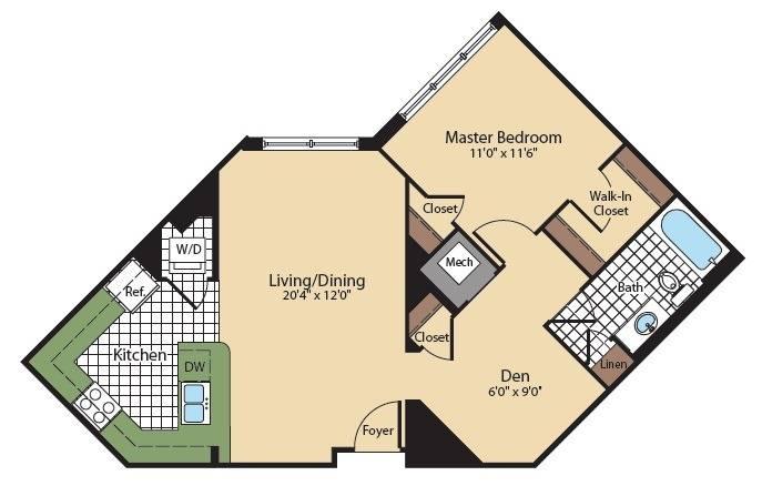 Floor Plan 5   North Bethesda Apartments   Meridian at Grosvenor Station