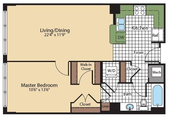 Floor Plan 6   Apartments In North Bethesda   Meridian at Grosvenor Station