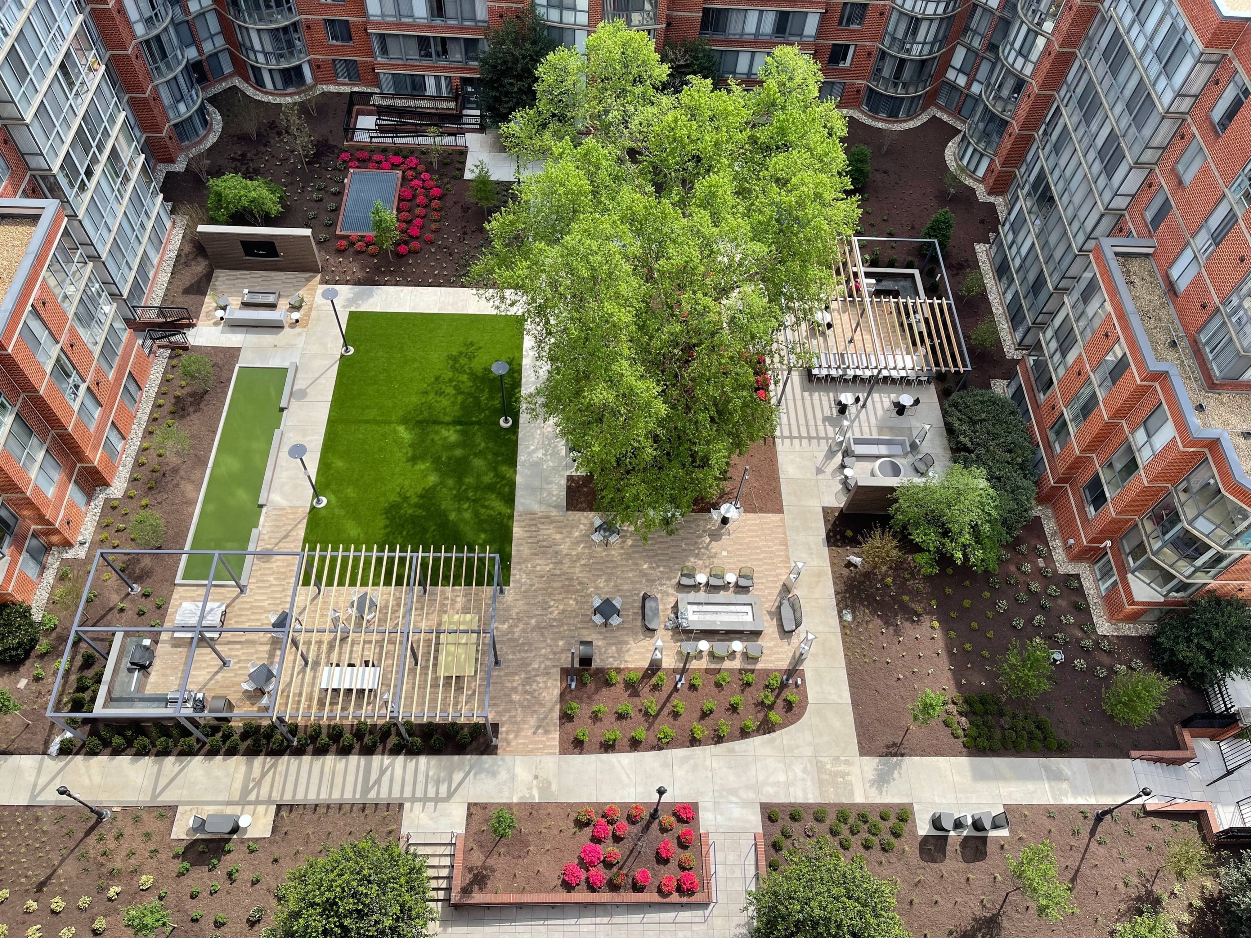 Newly Renovated Courtyard  Arlington, VA   Meridian at Courthouse Commons