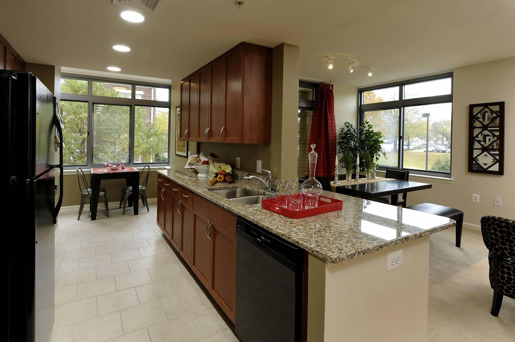 Tiled kitchen flooring