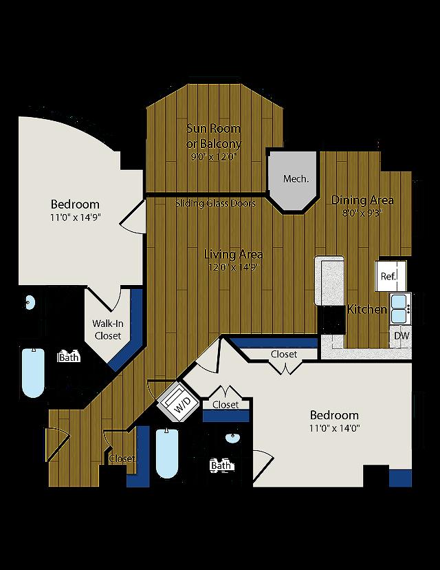 Floor Plan 3 | Luxury Apartments In Arlington VA | Meridian at Ballston Commons