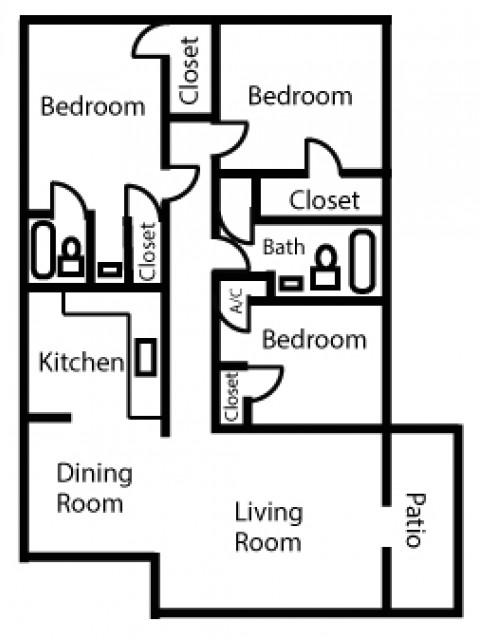 Three Bedroom Two Bath