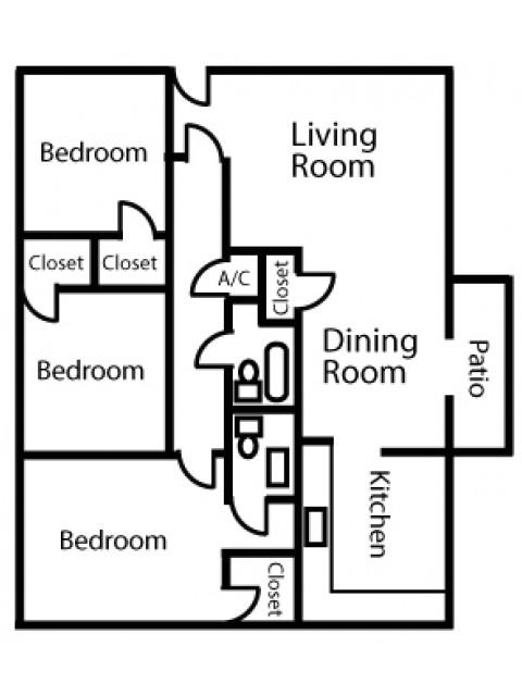 Three Bedroom Two Bath Large