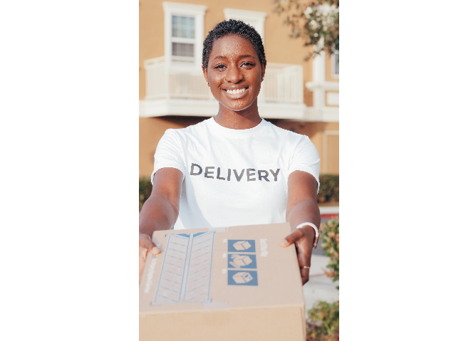 Delivery Woman Holding out a package